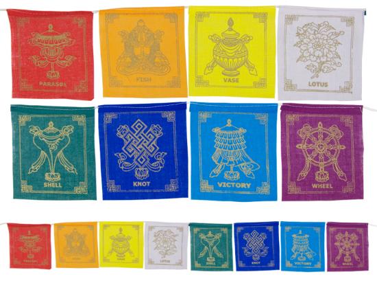 Gebetsfahne mit 8 Glückssymbolen